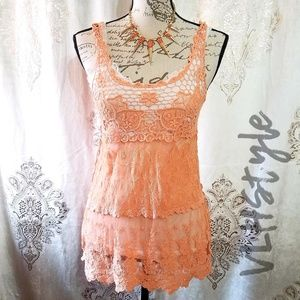 2/$15 Coral Mesh Lace and Crochet Boho Tank Top